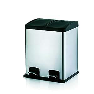 Kela 21540 - Cubo de la basura doble con 2 pedales, color plateado y negro