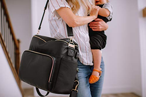 Premium Vegan Leather Diaper Backpack | Ultra-Waterproof Nylon Interior with Large Capacity! USB charging port, laptop pocket, custom gold hardware, FREE changing mat and stroller hooks! | Luna Ray