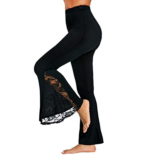 Causal Pants,Lowprofile Fashion Womens Sexy High Waist Leggings Trousers Lace Panel Casual Flare Pants Black