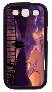 durable cover romantic couple bridge sunset art PC Black case/cover for Samsung Galaxy S3 I9300