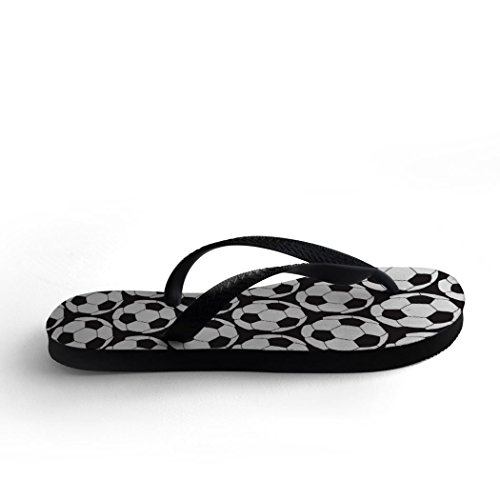 Soccer Black Side Soccer by Side Ball Pattern Flip Flops wUw8zqTXa