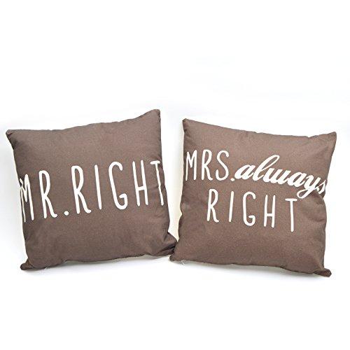 Pink Papaya Dekokissen Set Mr. Right & Mrs. Always Right, Braun, 45 x 45 cm, 2er Set Sofakissen mit 400g Füllung