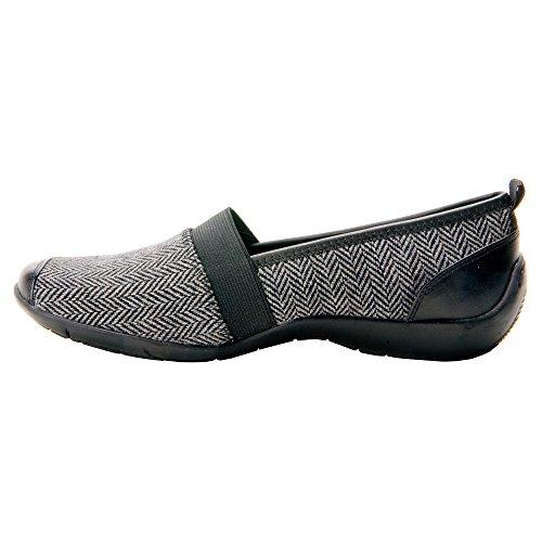 Ros Hommerson Carol Women Round Toe Leather Nude Loafer Grey Herringbone / Black Gore kLUc3hXFJp