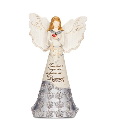 Elements 82314 Teacher Collectible Figurine, Angel Holding Book and Apple, 6-Inch