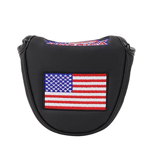 Big Teeth Putter Headcover Half Mallet Small Golf Head Cover Club Head Protector Magnetic Closure Leather USA Flag for Scotty Cameron Taylormade (Black)