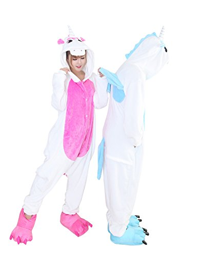 Duraplast Onesies Costume For Couples Jumpsuit Home Pajama Robe Flannel Unicorn (Hot Pink,s) -