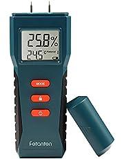 Fetanten Feuchtemessgerät für Rundholz und Brennholz, Feuchtigkeitsmesser und Feuchtigkeitsmessgeräte für Wände und Böden, Digital-Multimeter Sensorik | Feuchtigkeitsdetektor für 17 Arten Materialien