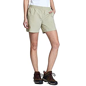 "Baleaf Women's 5"" UPF 50+ Zip Pocket Outdoor Water River Hiking Shorts Khaki Size L"