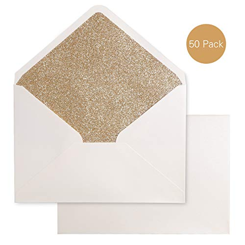 PONATIA 50 Pieces/Lot A7 Gold Glitter Envelopes, 5.25 x 7.5 inches, Perfect for 5''x7'' Weddings, Invitation Cards,Graduation Invite (Pearl Ivory+Gold Glitter)