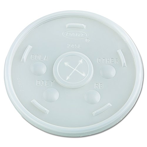 Dart 24SL05 Plastic Cold Cup Lids, 24oz, Translucent (Case of 500)