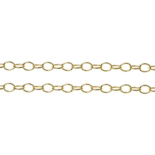 (Dreambell 12 inches 14k Gold Filled Oval Ring Link Cable Chain 2.2mm / Findings/Yellow)