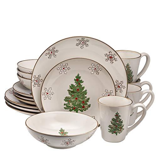 Christmas Ceramic Dinnerware Set Dinner Plates Bowls Mugs 16 Piece, Classic, Service For 4