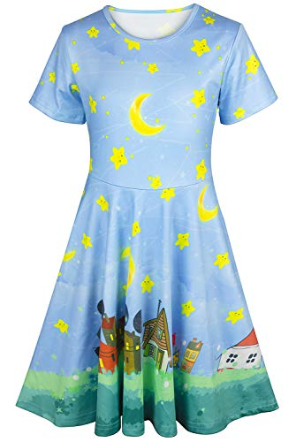 (Kayolece Printed Dresses for Little Girl 3D Cute Moon Party Clothes for Kids 4-5 Years Old)