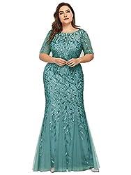 Plus Size Embroidery & Sequins Blue Colour Maxi Dress