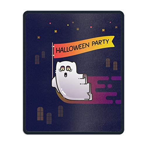 Personalized Rectangle Mouse Pad, Printed Happy Halloween Funny Flying Ghost,Non-Slip Comfortable Computer Mouse Pad