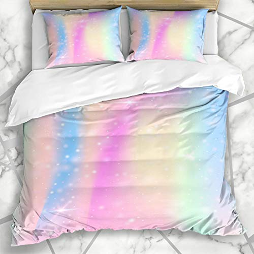 Ahawoso Duvet Cover Sets Queen/Full 90x90 Pearlescent Pink Princess Unicorn Rainbow Mesh Mystical Foil Universe Abstract Blue Fairytale Fantasy Microfiber Bedding with 2 Pillow Shams