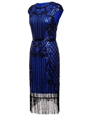 Gatsby FAIRY D20S013 1920s Sequined Blue Navy Tassels black Flapper Dress COUPLE Hem Embellished qqpErznA
