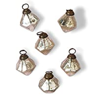 Luna Bazaar Mercury Glass Mini Ornaments (1 to 1.5-inch, Silver, Elizabeth Design, Set of 6) - Great Gift Idea, Vintage-Style Decorations for Christmas, Special Occasions, Home Decor and Parties