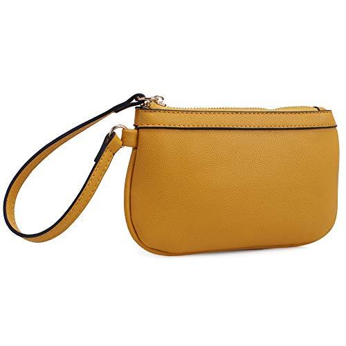 Isabelle Small Functional Zip Wristlet (Mustard)