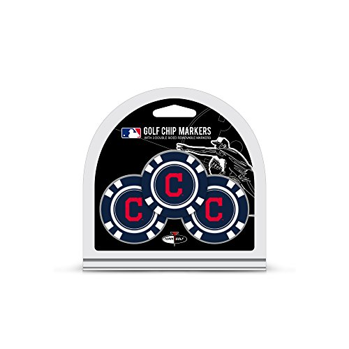 Team Golf MLB Cleveland Indians Golf Chip Ball Markers (3 Count), Poker Chip Size with Pop Out Smaller Double-Sided Enamel Markers