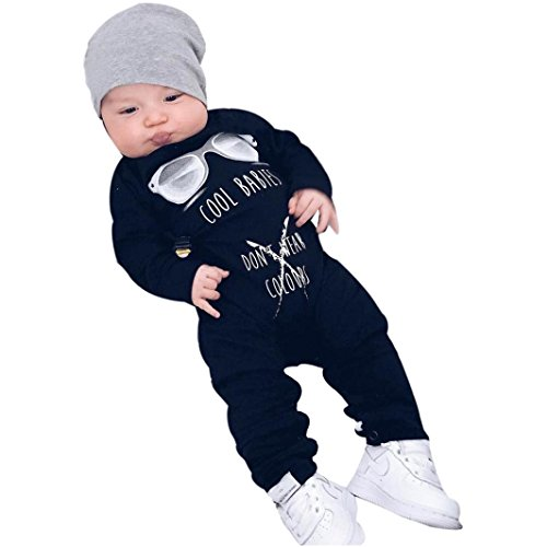 Lanhui Sunny Baby Boy Girl Long Sleeve Letter Print Romper Jumpsuit Clothes (12-18Months, Black) by Lanhui