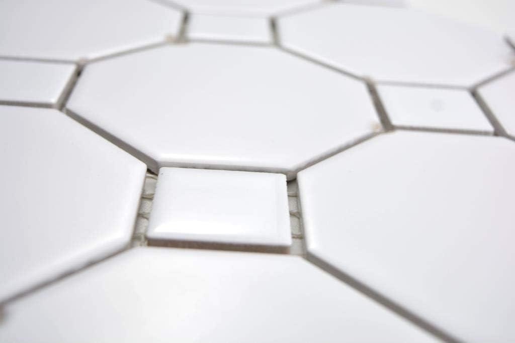 Mosaikfliese Octagon Achteck wei/ß matt mit wei/ß gl/änzenden Quadraten K/üche Wandverkleidung Thekenverkleidung Badfliese WC K/üchenfliese