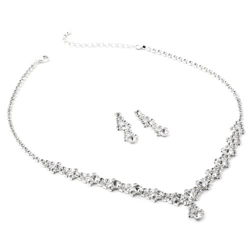[Silver Crystal Rhinestone and Crystal Circle Stones Necklace and Matching Dangle Earrings Jewelry] (Necklaces And Earrings)