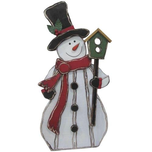 39'' Wooden Snowman Holding Birdhouse Outdoor Christmas Decoration by DermaPAD