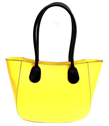 Superflybags Borsa A Spalla In Vera Pelle modello Olga XL Made In Italy Con Manico Tondo giallo / nero