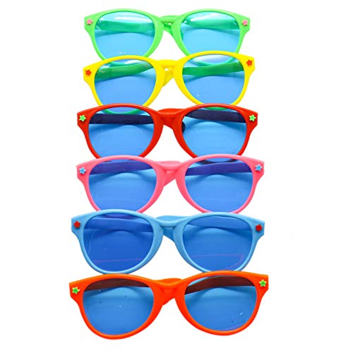 AQUEENLY Plastic Jumbo Sunglasses, Joke Sunglasses for Kids, Men, Women - Party Favor Fun Photo Booth Props - Pack of 6 (10'' X 3.5'', 6 Colors) for $<!--$9.99-->