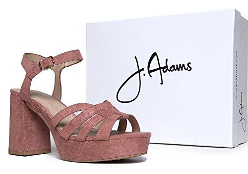 c0028b79ab1 J. Adams Womens Platform Ankle Strap Low Heel - Chunky Open Toe Shoe Casual  Basic Block Sandal - Taffy by