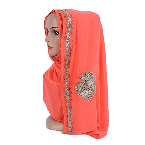 Czech Rhinestones Gold Stamping Pearl Chiffon Islamic Shawl Wedding Hijab Color 1 by Yaleagzss