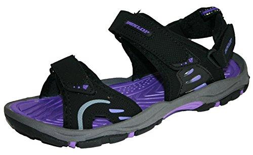 Womens Dunlop Flat Open Toe Sports Trekking Sandals Black/Purple PdZbck