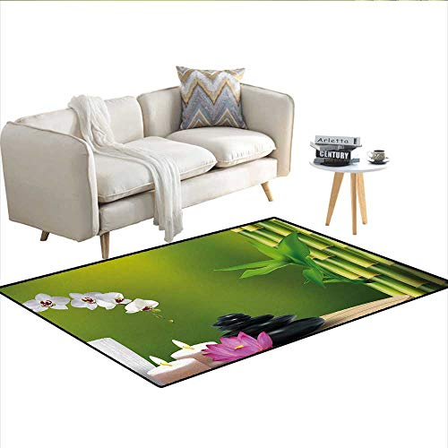 Carpet,Bamboo Flower Stone Wax on The Table Orchid Rock Healthy Lifestyle Theme,Area Silky Smooth Rugs,Fern Green Fuchsia WhiteSize:48