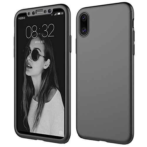 Price comparison product image iPhone X Case, Wellerly Ultra Slim Hard PC Premium Case Hybrid Anti Fingerprint Scratches Soft Grip 360 Degree Full Body Protection Cover with Free Screen Protector for iPhone X (2017 New) - Black