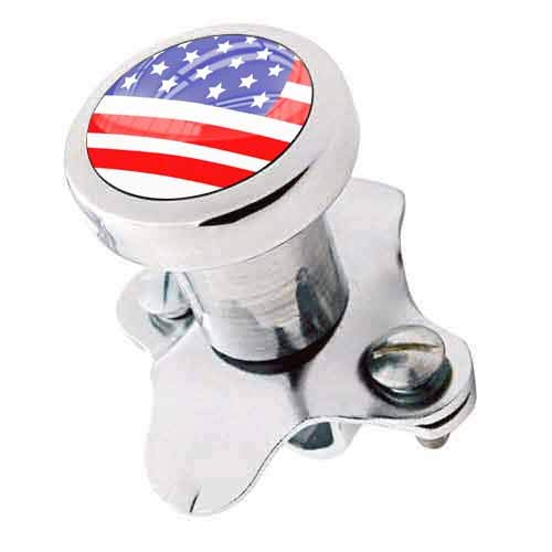TrickToppers Billet Aluminum Polished Steering Wheel Spinner Suicide Brody Knob for Hot Rod Customs Car Truck SUV Tractor Trailer Big Rig Boat & More - Veteran Military American USA Flag