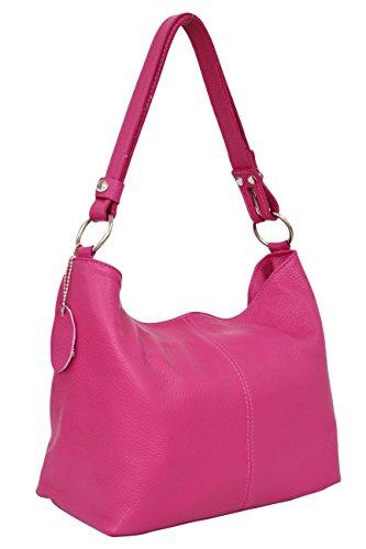 Ambra Moda, Sac à main pour Femme, Porté épaule, Modèle Hobo GL005. rose bonbon