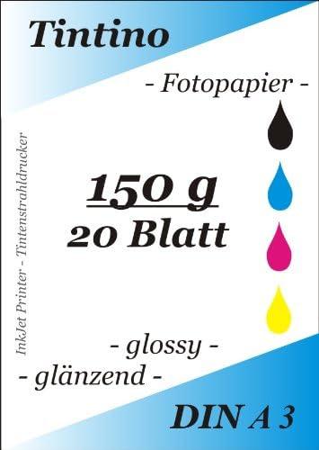 100 hojas de papel fotográfico DIN A3, 150 g/m² brillante/SE seca ...