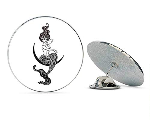 Beautiful Topless Mermaid on Moon #2 Round Metal 0.75