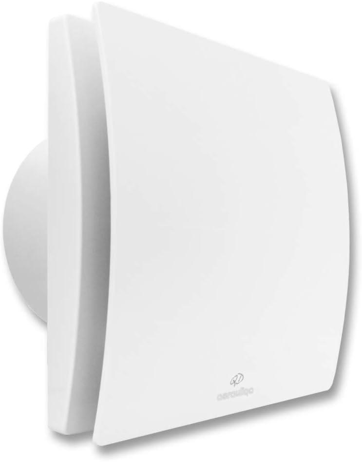 QD100HTBB de Aerauliqa – Aspirador axial diámetro 100 mm – 8 W – 83 m3/h – cód. 003140 – con control de humedad y temporizador