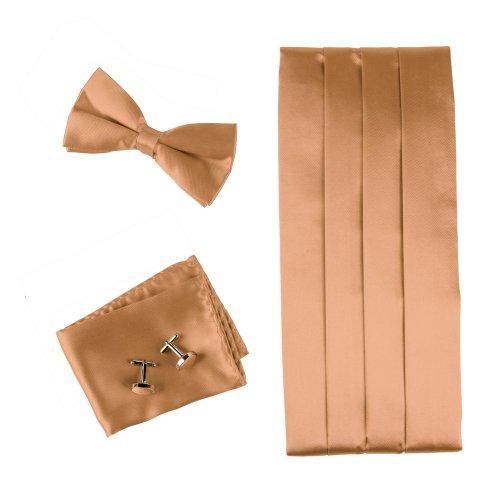 Pointe Cumberland Sandy Brown Silk pre-tied Bow Tie for Shirt for Marriage Fashion Design Hanky and Cummerbund Cufflinks Set With Box CM1007