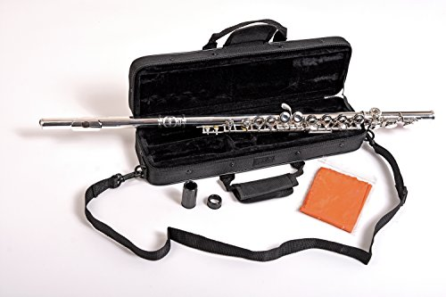 NEW! Herche Superior Flute FL-297 Best for Students - Durable Silver Plated Keys - Plush Lined Flute Case with Shoulder Strap - Split E Mechanism - Treated Pads - Silver Plated Body - Cleaning Rod by Herche