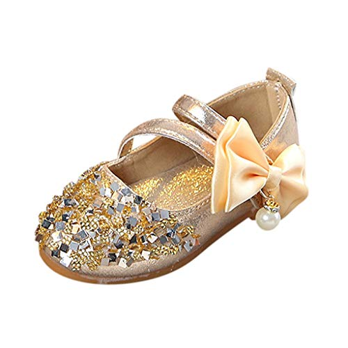 Tantisy ♣↭♣ Baby Girl Moccasins Princess Sparkly Premium Lightweight Soft Sole Mary Jane Crown Princess Dress Shoes Gold