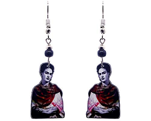 Mia Jewel Shop Frida Kahlo Famous Artist Portrait Dangle Earrings