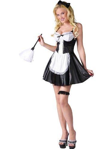Fun World Women's Flirty French Maid Costume, Multi, -