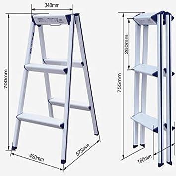 hmjv Escalera-estante-soporte Escalera pequeña plegable de aluminio para el hogar - Escalera de espiga multifunción gruesa Taburete de almacenamiento de diseño original,Blanco: Amazon.es: Bricolaje y herramientas