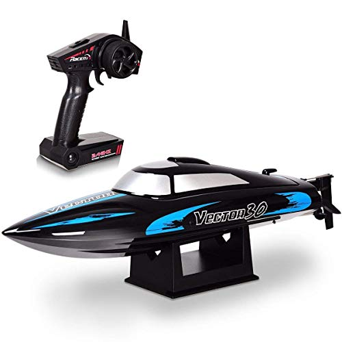 HAPPYGRILL RC Boat Remote Control Boat, Vector30 2.4G RC High Speed Racing Boat for Kids or Adults, Self-righting Auto Roll Back, Reverse Function, Brushed Motor, RTR, Black (Rtr High Speed Racing Boat)