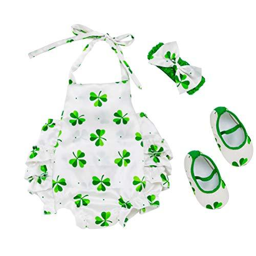 BESTOYARD Rompers St. Patrick's Pattern Outfits Newborn Toddler Kids Print Jumpsuit Headband Set(73,6-12 Month) 3pcs -