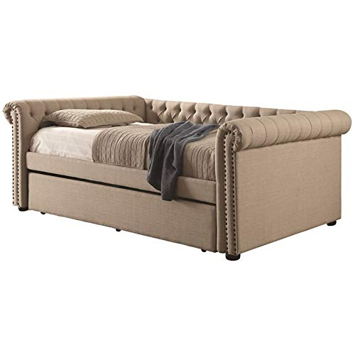 Furniture of America Odessa Tufted Full Daybed with Trundle in Beige by Furniture of America