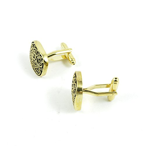 50 Pairs Cufflinks Cuff Links Fashion Mens Boys Jewelry Wedding Party Favors Gift OEO028 Golden Roman Pattern by Fulllove Jewelry